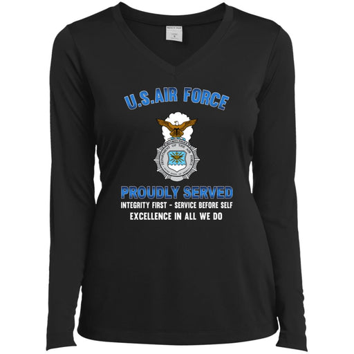 US Air Force Security Police Proudly Served Sport-Tek Ladies' LS Performance V-Neck T-Shirt