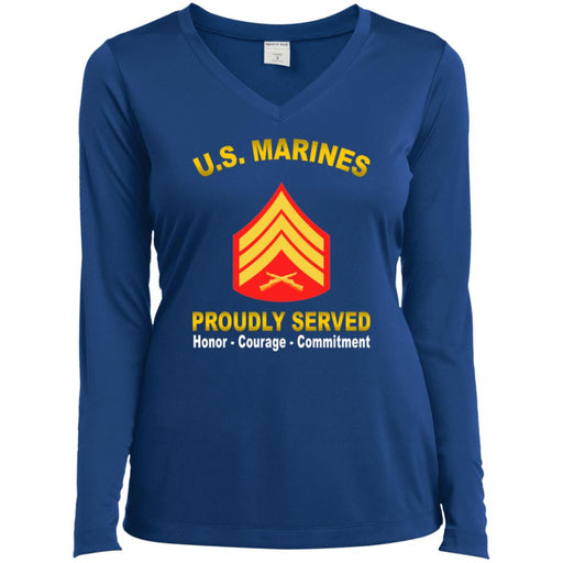 USMC E-5 Sergeant E5 Sgt USMC Noncommissioned Officer  Proudly Served Sport-Tek Ladies' LS Performance V-Neck T-Shirt