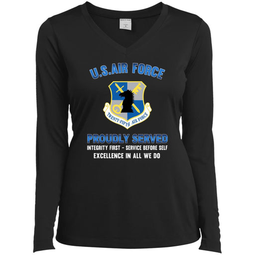 US Air Force Intelligence Command Proudly Served Sport-Tek Ladies' LS Performance V-Neck T-Shirt