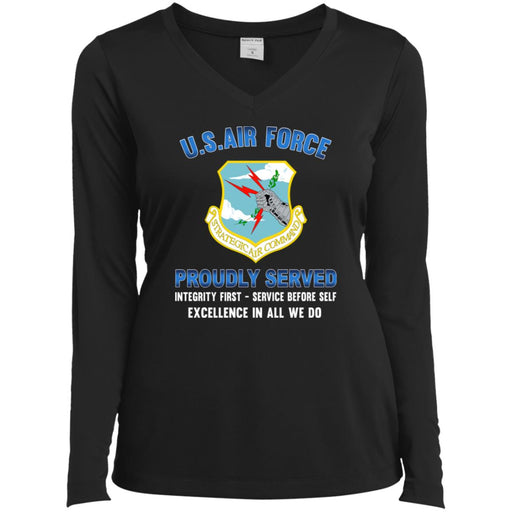 US Air Force Strategic Air Command Proudly Served Sport-Tek Ladies' LS Performance V-Neck T-Shirt