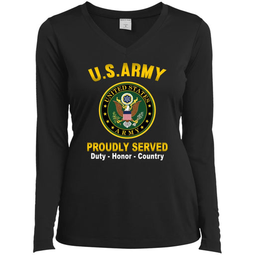US Army Logo Proudly Served Sport-Tek Ladies' LS Performance V-Neck T-Shirt