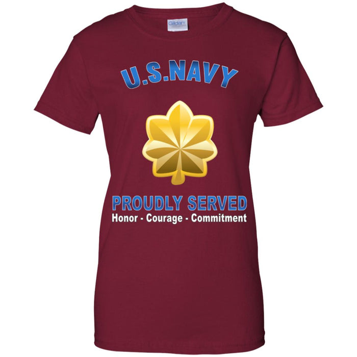 US Navy O-4 Lieutenant Commander O4 LCDR Junior Officer Proudly Served Ladies' T-Shirt