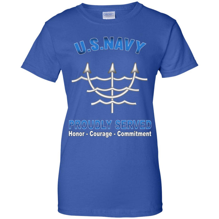 US Navy Ocean Systems Technician Navy OT Proudly Served Core Values Ladies' T-Shirt