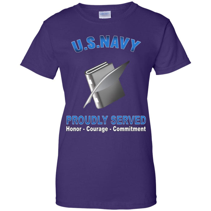 US Navy Personnel Specialist Navy PS Proudly Served Core Values Ladies' T-Shirt