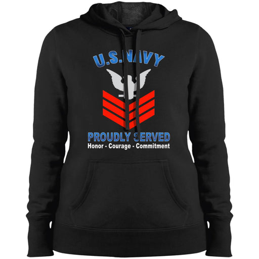 US Navy E-6 Petty Officer First Class E6 PO1 Collar Device Proudly Served Sport-Tek Ladies' Pullover Hooded Sweatshirt