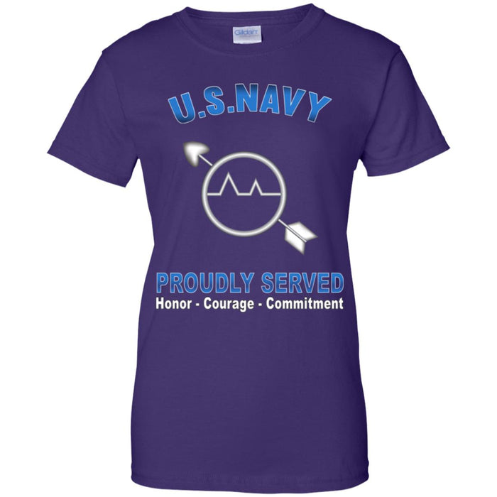 U.S Navy Operations specialist Navy OS Proudly Served Core Values Ladies' T-Shirt