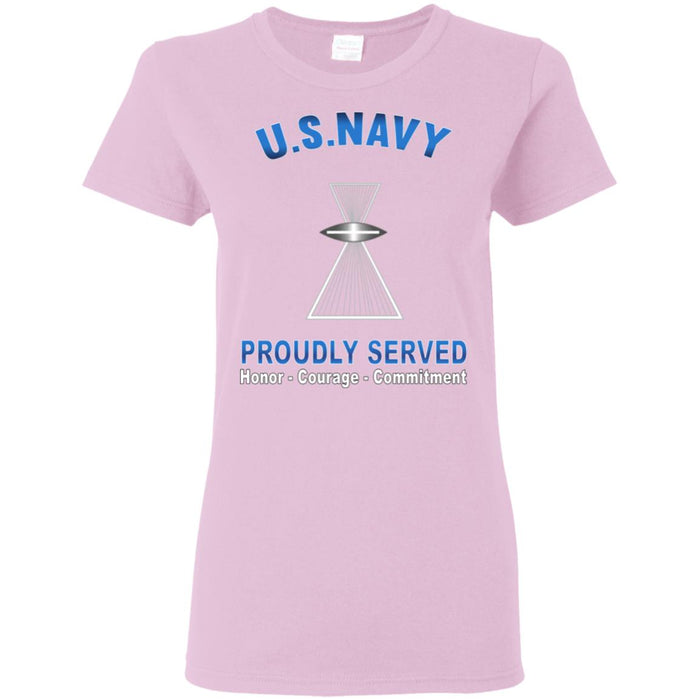 US Navy Aviation Photographer's Mate Navy PH Proudly Served Core Values Ladies' T-Shirt