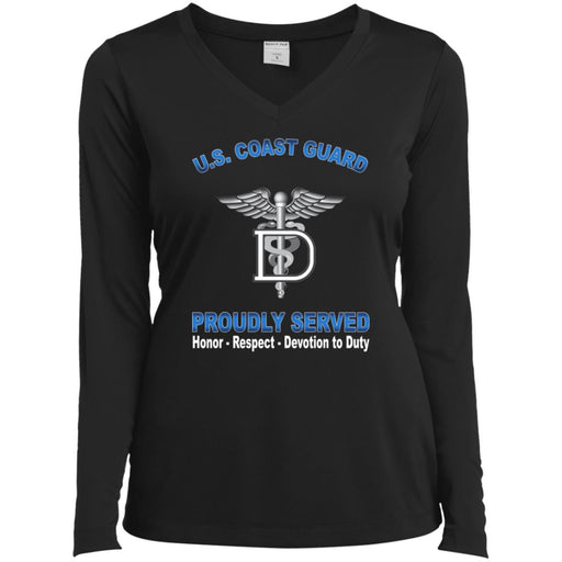 US Coast Guard Dental Technician DT Proudly Served Sport-Tek Ladies' LS Performance V-Neck T-Shirt