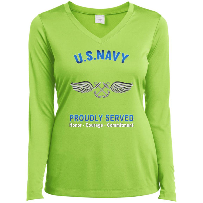 U.S Navy Aviation Boatswain's Mate Navy AB Proudly Served Core Values Sport-Tek Ladies' LS Performance V-Neck T-Shirt