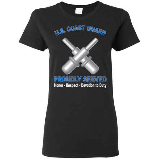 US Coast Guard Gunner's Mate GM Proudly Served Ladies' T-Shirt