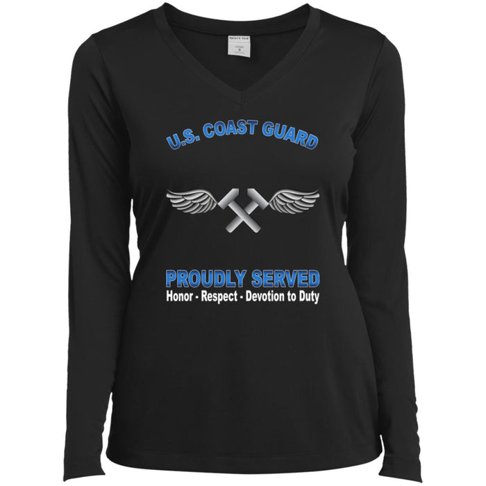 US Coast Guard Aviation Metalsmith AM Proudly Served Sport-Tek Ladies' LS Performance V-Neck T-Shirt
