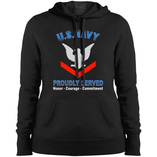 US Navy E-4 Petty Officer Third Class E4 PO3 Collar Device Proudly Served Sport-Tek Ladies' Pullover Hooded Sweatshirt