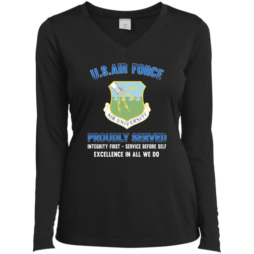 US Air Force Air University Proudly Served Sport-Tek Ladies' LS Performance V-Neck T-Shirt
