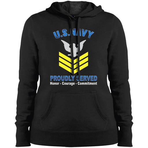 US Navy E-6 Petty Officer First Class E6 PO1 Gold Stripe Collar Device Proudly Served Sport-Tek Ladies' Pullover Hooded Sweatshirt