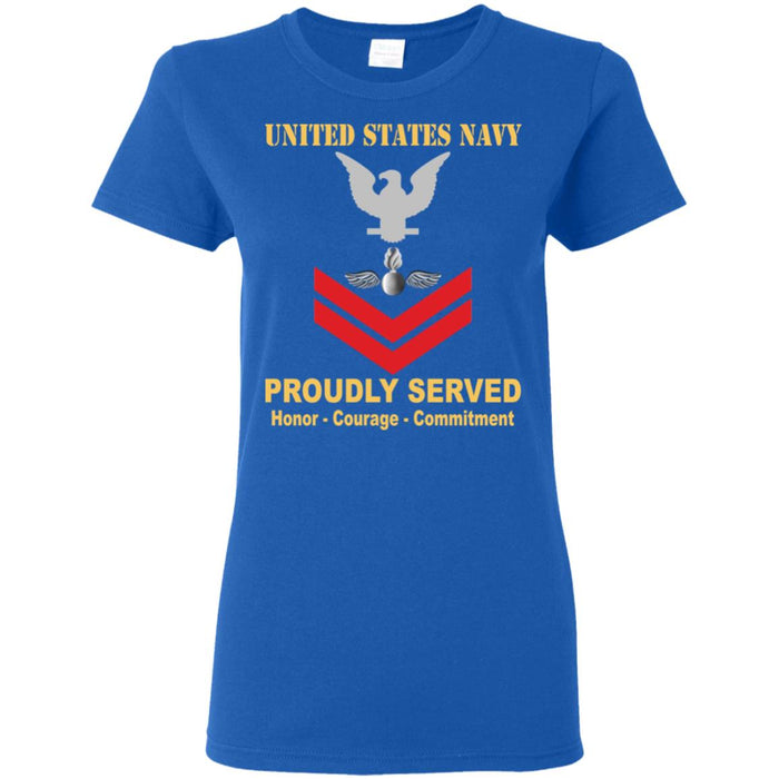 US Navy Aviation Ordnanceman Navy AO E-5 PO2 Petty Officer Second Class Ladies' T-Shirt