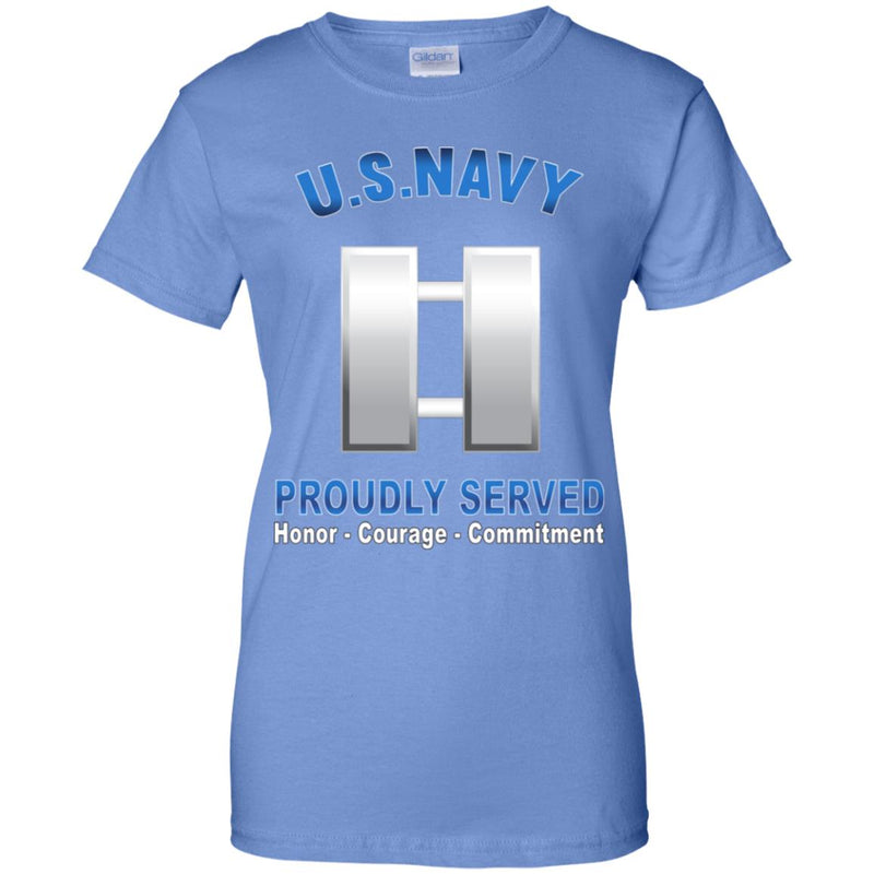US Navy O-3 Lieutenant O3 LT Junior Officer Proudly Served Ladies' T-Shirt