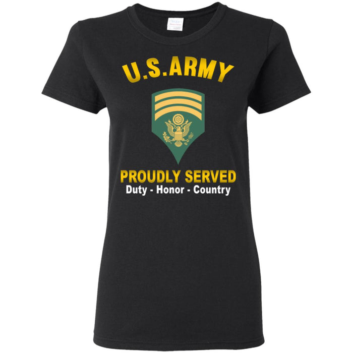 US US Army E-7 SPC E7 Specialist  Proudly Served Ladies' T-Shirt