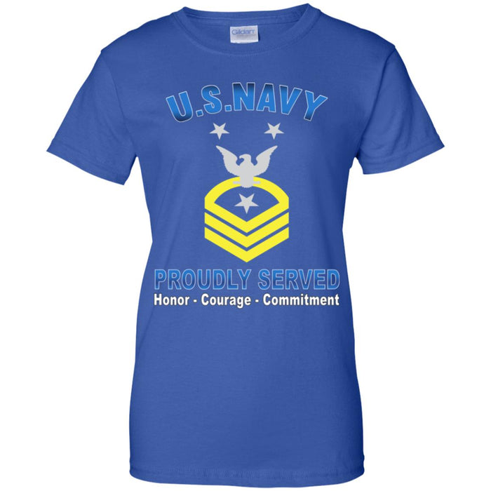 US Navy E-9 Command Master Chief Petty Officer E9 CMDCM Senior Enlisted Advisor Collar Device Proudly Served Ladies' T-Shirt