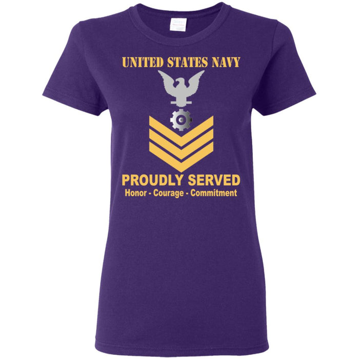 US Navy Engineman Navy EN E-6 Gold Stripe PO1 Petty Officer First Class Ladies' T-Shirt