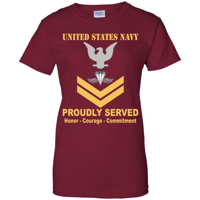 US Navy Aircrew Survival Equipmentman Navy PR E-5 Gold Stripe PO2 Petty Officer Second Class Ladies' T-Shirt