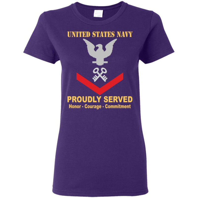US Navy Logistics specialist Navy LS E-4 PO3 Petty Officer Third Class Ladies' T-Shirt