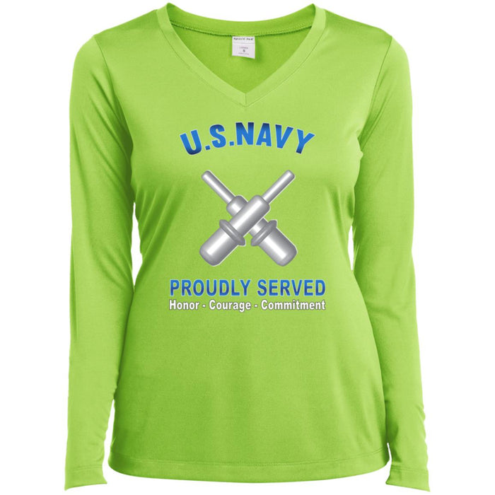 U.S Navy Gunner's mate Navy GM Proudly Served Core Values Sport-Tek Ladies' LS Performance V-Neck T-Shirt