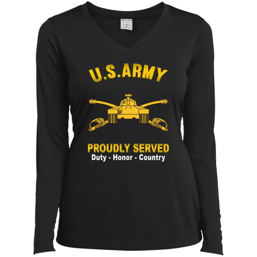 U.S Army Armor Proudly Served Sport-Tek Ladies' LS Performance V-Neck T-Shirt