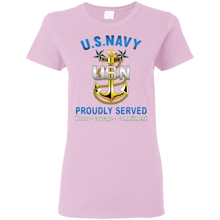 US Navy E-9 Master Chief Petty Officer E9 MCPO Senior Noncommissioned Officer Collar Device Proudly Served Ladies' T-Shirt