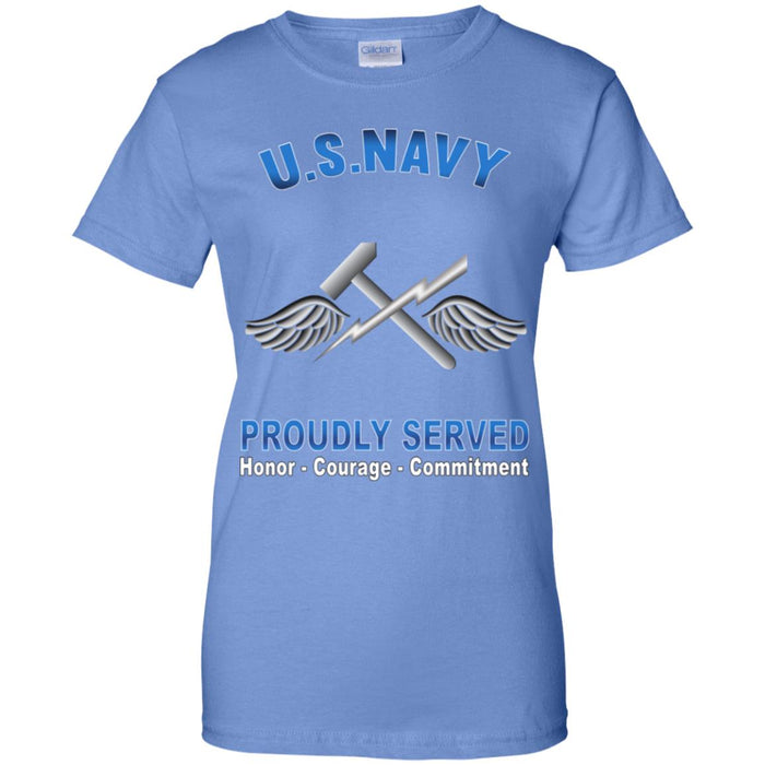 US Navy Aviation Support Equipment Tech Navy AS Proudly Served Core Values Ladies' T-Shirt