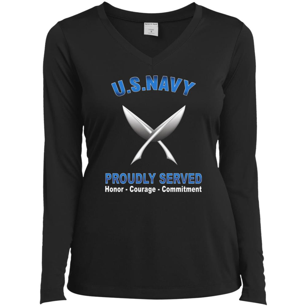 U.S Navy Yeoman Navy YN Proudly Served Core Values Sport-Tek Ladies' LS Performance V-Neck T-Shirt