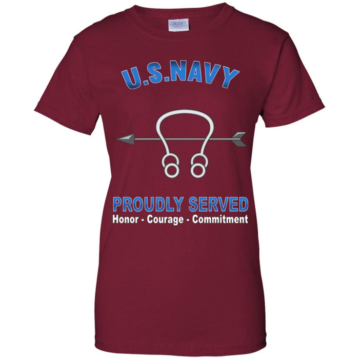 US Navy Sonar Technician Navy ST Proudly Served Core Values Ladies' T-Shirt