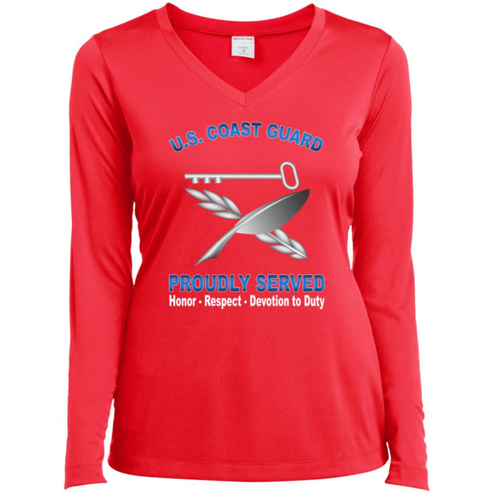 USCG CULINARY SPECIALIST CS Proudly Served Sport-Tek Ladies' LS Performance V-Neck T-Shirt