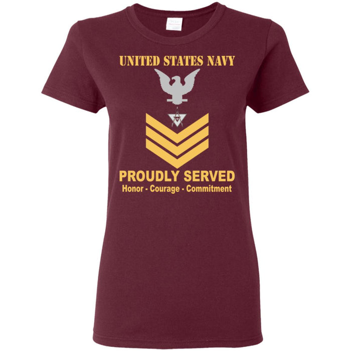 US Navy Draftsman Navy DM E-6 Gold Stripe PO1 Petty Officer First Class Ladies' T-Shirt