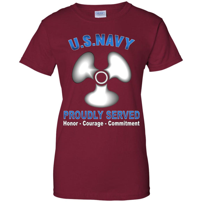 US Navy Machinist's Mate Navy MM Proudly Served Core Values Ladies' T-Shirt