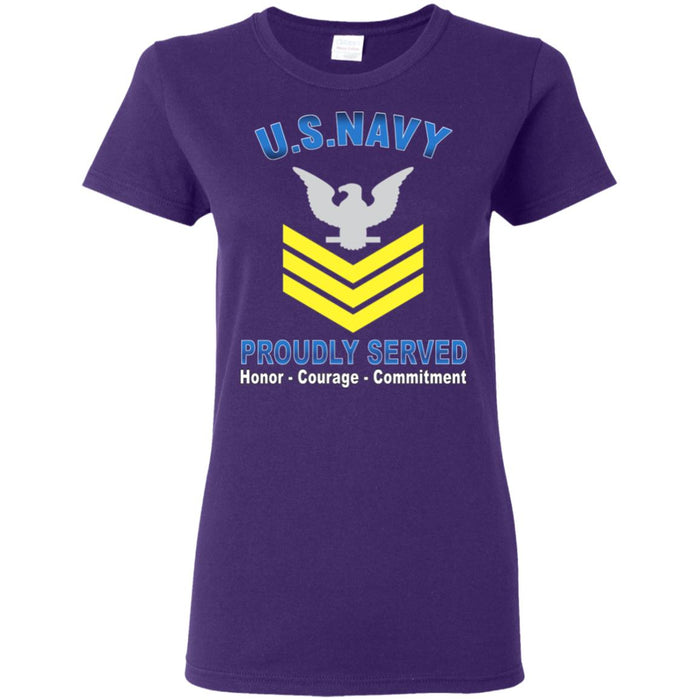 US Navy E-6 Petty Officer First Class E6 PO1 Gold Stripe Collar Device Proudly Served Ladies' T-Shirt