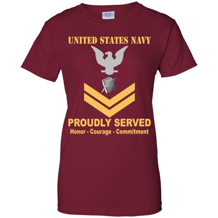 US Navy Personnel Specialist Navy PS E-5 Gold Stripe PO2 Petty Officer Second Class Ladies' T-Shirt
