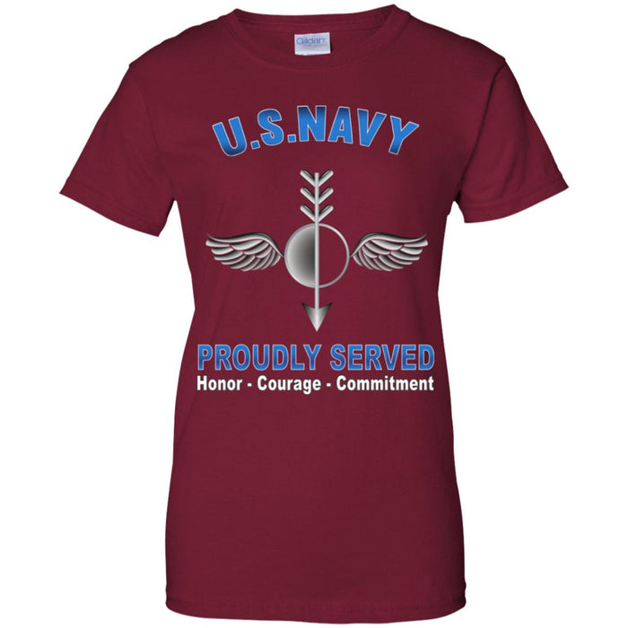 US Navy Aerographers Mate Navy AG Proudly Served Core Values Ladies' T-Shirt