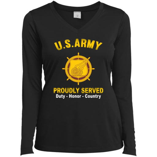 U.S. Army Transportation Corps Proudly Served Sport-Tek Ladies' LS Performance V-Neck T-Shirt