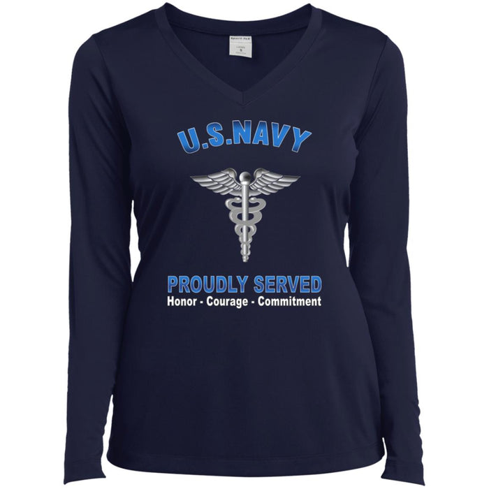 U.S Navy Hospital Corpsman Navy HM Proudly Served Core Values Sport-Tek Ladies' LS Performance V-Neck T-Shirt