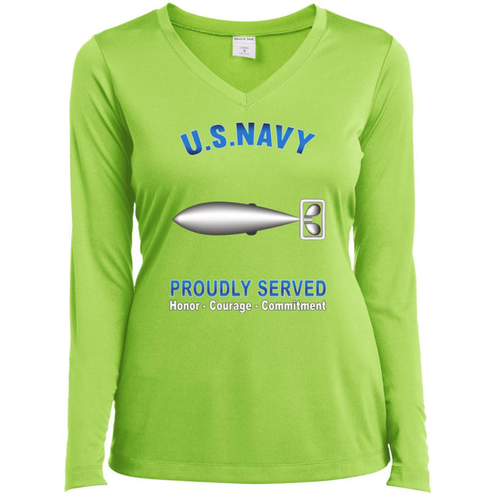 U.S Navy Torpedoman's mate Navy TM Proudly Served Core Values Sport-Tek Ladies' LS Performance V-Neck T-Shirt