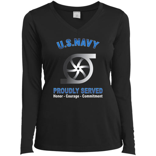 US Navy Gas Turbine Systems Technician Navy GS Proudly Served Core Values Sport-Tek Ladies' LS Performance V-Neck T-Shirt