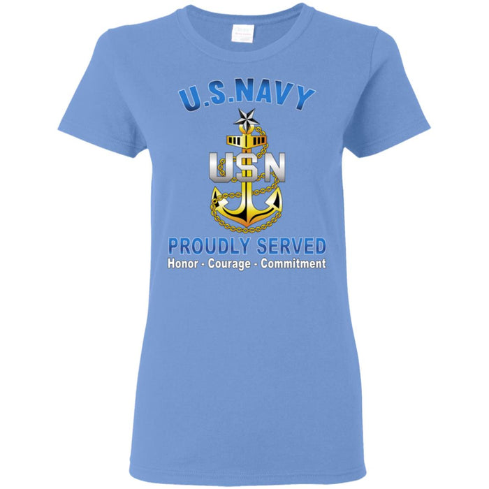 US Navy E-8 Senior Chief Petty Officer E8 SCPO Senior Noncommissioned Officer Collar Device Proudly Served Ladies' T-Shirt