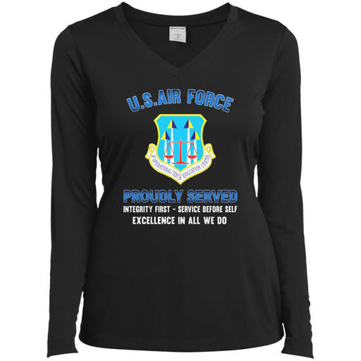 US Air Force Operational Test and Evaluation Center Proudly Served Sport-Tek Ladies' LS Performance V-Neck T-Shirt