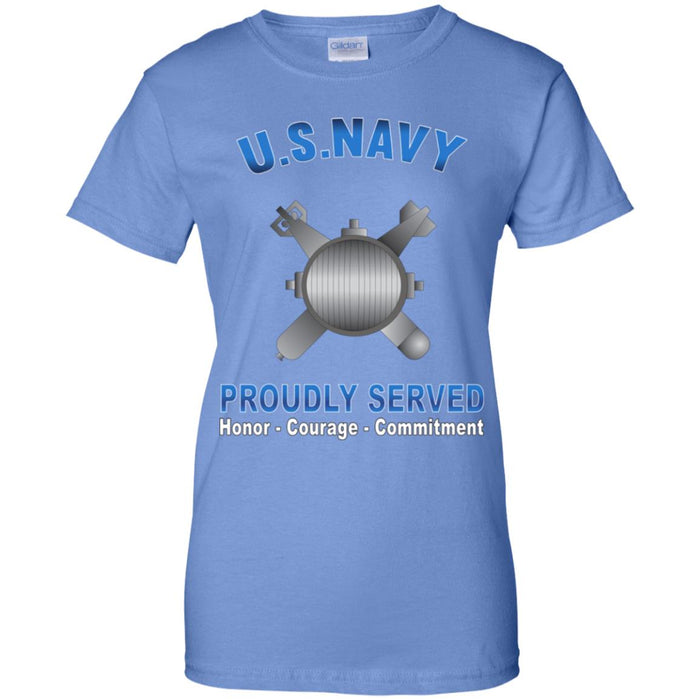 US Navy Explosive Ordnance Disposal Navy EOD Proudly Served Core Values Ladies' T-Shirt
