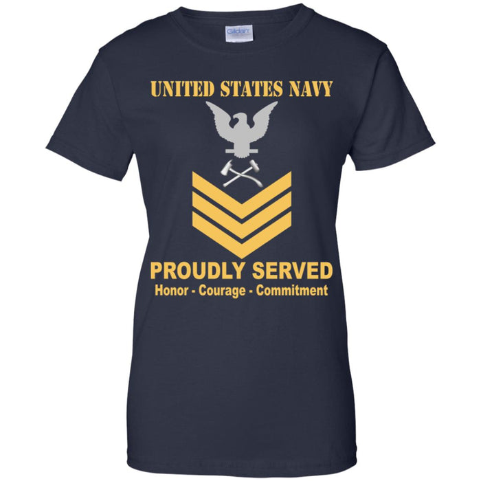 US Navy Damage Controlman Navy DC E-6 Gold Stripe PO1 Petty Officer First Class Ladies' T-Shirt