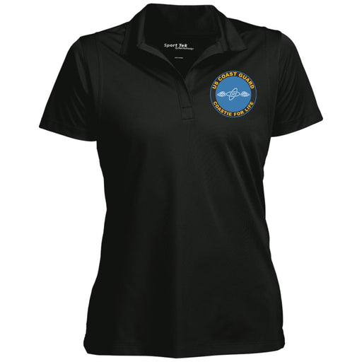 US Coast Guard Aviation Electronics Technician AET Logo Coastie For Life Sport-Tek Women's Micropique Tag-Free Flat-Knit Collar Polo