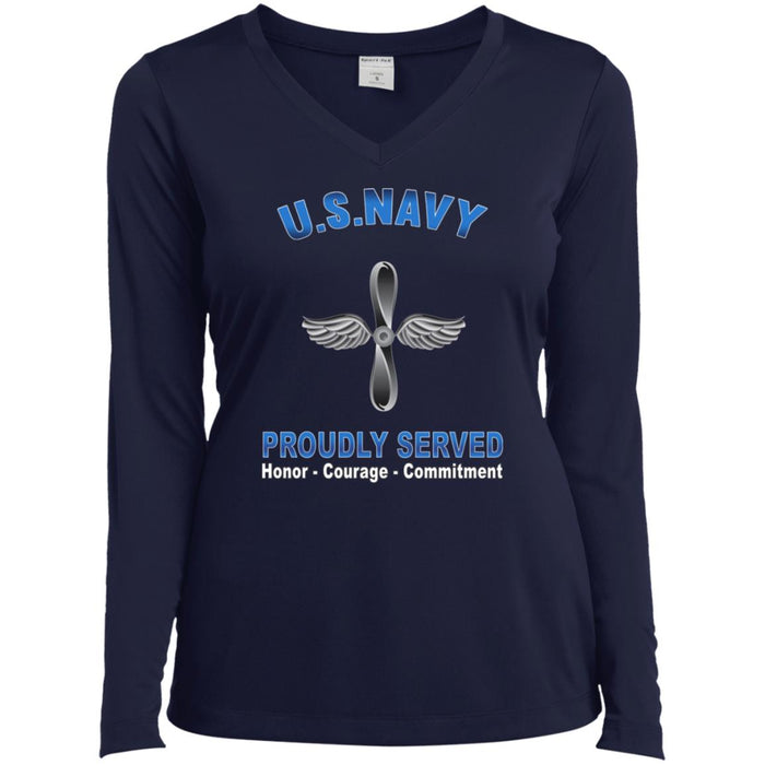U.S Navy Aviation machinist's mate Navy AD Proudly Served Core Values Sport-Tek Ladies' LS Performance V-Neck T-Shirt