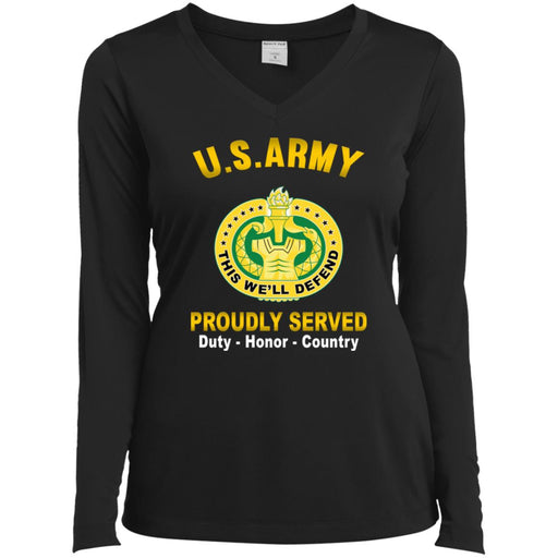 US Army Drill Sergeant Proudly Served Sport-Tek Ladies' LS Performance V-Neck T-Shirt