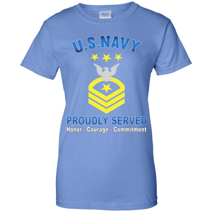 US Navy E-9 Master Chief Petty Officer Of The Navy E9 MCPON Collar Device Proudly Served Ladies' T-Shirt