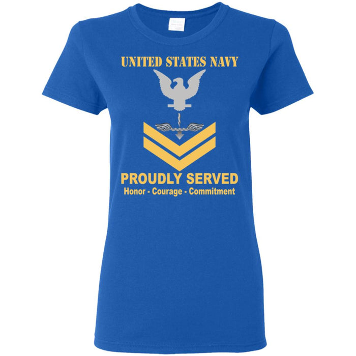 US Navy Antisubmarine Warfare Technician Navy AX E-5 Gold Stripe PO2 Petty Officer Second Class Ladies' T-Shirt